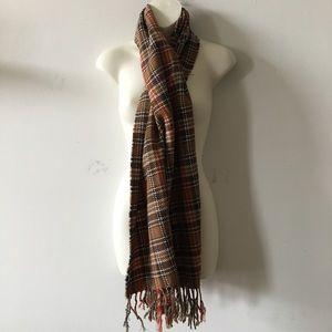 Acrylic Fringe scarf Plaid earth tones